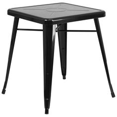 23.75'' Square Black Metal Indoor-Outdoor Table. Create a chic dining space with this industrial style table. The colorful table will add a retro-modern look to your home or eatery. This highly versatile Cafe Table is ideal for use in bistros, taverns, bars and restaurants. You can mix and match this style table with any metal chair, even using different colors. The top features an engraved designer print. A cross brace underneath the top adds extra stability. The legs have protective…