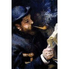 """Buyenlarge 'Claude Monet Reading a Newspaper' by Pierre-August Renoir Painting Print Size: 66"""" H x 44"""" W"""