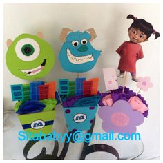Monsters inc center pieces made by me  #monstersinc #centerpieces #partyideas #party #kidsparties