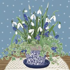 'Snowdrops And Scillas', by UK Artist Mig Wyeth. Published by Green Pebble. Traditional Paintings, Naive Art, Watercolor Flowers, Flower Art, Art Flowers, Painting Inspiration, Illustrations Posters, Art Projects, Illustration Art