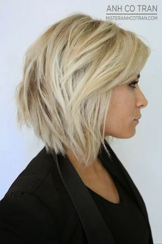 stacked bob with bangs | 23 Short Layered Haircuts Ideas for Women | PoPular Haircuts