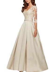 58e519478 LovingDresses Les robes de mariée en satin 3 4 longueur manches Robes de  bal Taille