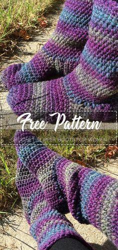 Basic Slipper Boots for Women – Free Crochet Pattern – 15 Free Crochet Socks Patterns for Beginners – Knitting Socks İdeas. Crochet Socks Pattern, Easy Crochet Patterns, Knit Crochet, Free Crochet Slipper Patterns, Crocheting Patterns, Crochet Scarves, Crochet Ideas, Crochet Slipper Boots, Crochet Slippers