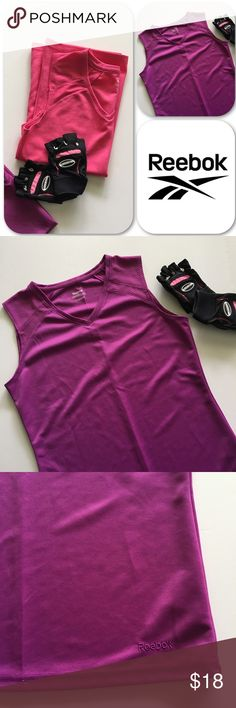 Reebok Work Out Tops Set of 2 Reebok sleeveless tops. Excellent used condition hardly worn. Ha! They would probably fit me if I was still actively working out!! Women's Small. Reebok Tops Muscle Tees