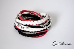 BLACK RED  WHITE  Suede Cord Wrap by SzidoniaCollection on Etsy, $22.00