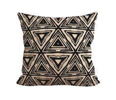 Burlap Pillow Aztec Pattern Patterns Fiber by tossbyfiberandwater