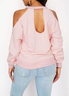 Cold Shoulder Distressed Printed Pink Sweatshirt  2e140686eec0