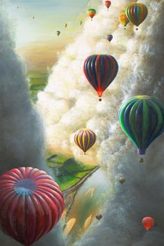 hot air balloon paintings | Hot air balloons drifting through cloud canyons from darkness into ...