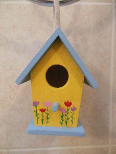 painted tulip miniature bird house by ArtByAngeline on Etsy, $10.00