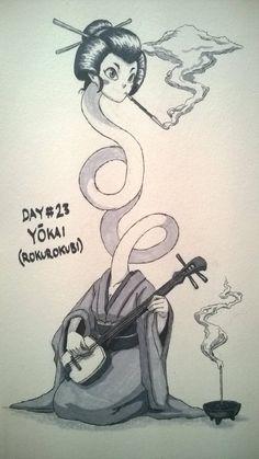 Inktober 2018 Day Yokai (Rokurokubi) by TheGraffitiSoul on DeviantArt Japanese Artwork, Japanese Tattoo Art, Mythological Creatures, Mythical Creatures, Inktober, Japanese Urban Legends, Paranormal, Japanese Monster, Japanese Folklore