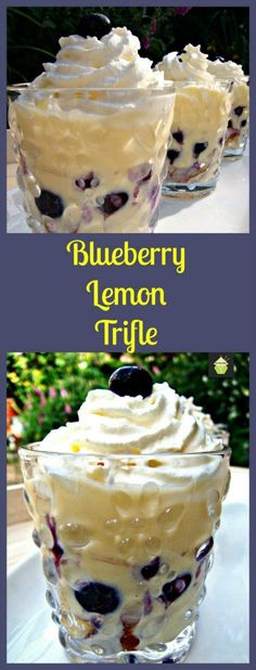 Modify to low carb: Blueberry and Lemon Trifle. Layers of fresh Lemon Cake, Creamy Custard and Whipped Cream and of course a generous sprinkling of blueberries throughout. Please enjoy! Trifle Desserts, Lemon Desserts, Lemon Recipes, Just Desserts, Sweet Recipes, Delicious Desserts, Dessert Recipes, Yummy Food, Lemon Cakes
