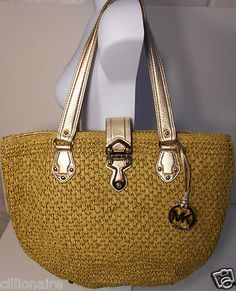 $120.00 Michael Kors Gold Large Corn Husk Basket Tote with Gold Charm + FREE GIFT