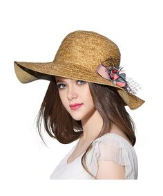 49b847e5131 Womens Reversible Straw Sun Hat Summer Outdoor Wide Brim Floppy Foldable  Beach Cap Brown straw Beach Hat CT183R5T5T0
