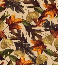 Autumn Inspirations Fabric- Harvest Leaves On Tan