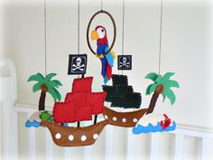 Pirate mobile - Pirate themed nursery children decor - Pirate ship - pirate parrot - treasure island.