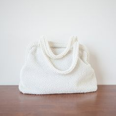 1950s 'Seed Pearl' white beaded handbag by Cordé #vintage