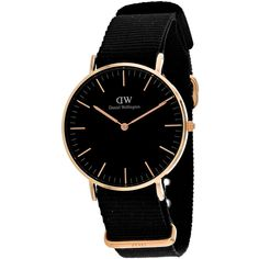 Daniel Wellington Gold & Black Classic Cornwall NATO-Strap Watch (420 PEN) ❤ liked on Polyvore featuring jewelry, watches, analog watches, daniel wellington, stainless steel jewelry, black and gold watches and black gold watches