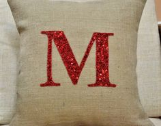 Customized Monogram decorative pillow- Throw pillows with personalized letter- Burlap pillow cover - Cushion cover 16X16