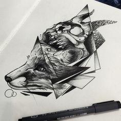 Tattoo sketch - Fox with skull