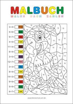 Rechnen und malen ZR 20 - Matheaufgaben für die 1. Klasse Mathematik in der Grundschule Math Coloring Worksheets, Free Printable Math Worksheets, Free Kindergarten Worksheets, School Worksheets, Kindergarten Math, Printable Coloring Pages, Math Activities, 1st Grade Math, Grade 1