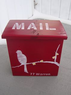 Mailbox!  RePurposed Wooden Mailbox - Bird on a Branch- Deep Red. $35.00, via Etsy.