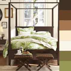 This British Colonial bedroom has dark wood, botanical printing and campaign furniture. The campaign furniture was very important to the British because the furnishings were easy to move around when they went to explore new land.