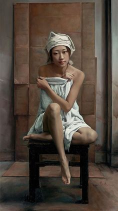Artist: Li Wentao (李文涛), oil on canvas {contemporary figurative asian female seated woman painting} http://liwentao.artron.net
