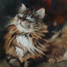 "Daily Paintworks - ""Cat Bliss"" - Original Fine Art for Sale - © Pamela Poll"