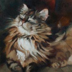 "Daily Paintworks - ""Cat Bliss"" - Original Fine Art for Sale - © Pamela Poll"