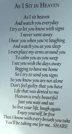 As I Sit in Heaven poem