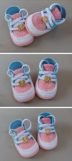 crochet baby shoes What a beautiful sneakers we have for you today to crochet with help of step by step explained video tutorial and we know that you love to crochet new and beautifu Baby Shoes Pattern, Shoe Pattern, Baby Patterns, Crochet For Kids, Easy Crochet, Knit Crochet, Crochet Ideas, Crochet Baby Clothes, Crochet Baby Shoes