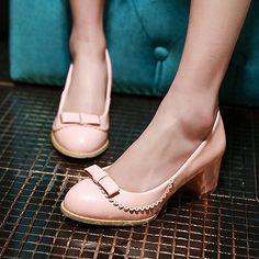 Sweet Mary Janes Womens Bowknot OL Ladies Slip On Mid Block Heels Loafers Shoes