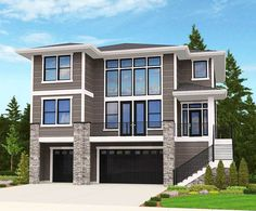4 Bed Modern for an Uphill Lot - 85080MS | Architectural Designs - House Plans