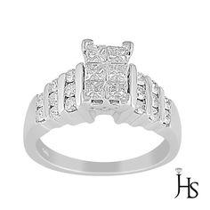 14K White Gold 0.90 Cts Round & Princess Diamond Invisible Set Engagement Ring #WomensEngagementRingJHS #Engagement