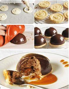 Cúpulas de chocolate y caramelo. Deliciosas cúpula de chocolate y caramelo sin gluten, una receta de chocolate llena de mousse de chocolate con caramelo de
