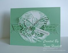 Stampin' Up! ... hand crafted card ... monochromatic mint green ... die cut butterflies layered over porthole negative  space ... great card!