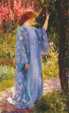 Guy Rose - The Blue Kimono, 1910 ~lovely, but someone should have told her to lower that ribbon around her neck.