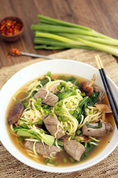 Beef Zucchini Noodle Soup with Shitake Mushrooms and Baby Bok Choy {Via @Ali Velez Maffucci}