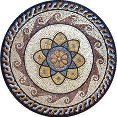 Lorea Round Marble Flower Mosaic - Mosaic Geometric -Mosaic Patterns - Marble-Medallion Mosaic - Geometric Mandala - Mosaic Mandala - Floral Designs | #Mozaico