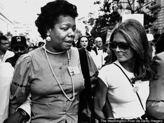 Maya Angelou and Gloria Steinem on their way to the March on Washington on August 27, 1983 in Washington, DC.