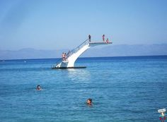 This is a diving board in Rhodes greece. Its in the middle of the ocean! Trampolines, Diving Board, Amiens, Relax, Pool Accessories, Image Of The Day, Morning Pictures, Greece Travel, Travel Europe