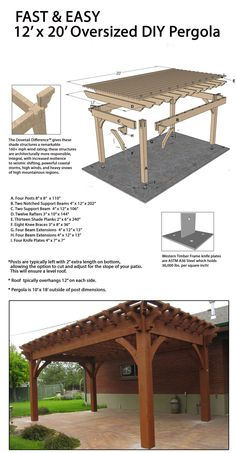 Build a Fast DIY Beautiful Backyard Shade Structure Fast and easy DIY freestanding ShadeScape™ pergola!Fast and easy DIY freestanding ShadeScape™ pergola! Diy Pergola, Timber Pergola, Outdoor Pergola, Pergola Ideas, Pergola Lighting, Modern Pergola, Awning Patio, Pergola Carport, Outdoor Shade