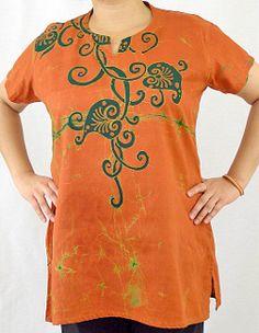 Batik Blouse - Vine on Orange (Large)