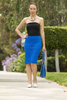 Rock this textured #midi #skirt at a night-out and bring yourself to the limelight!