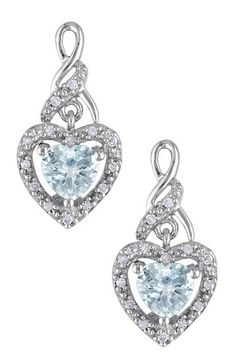 Sterling Silver Round Aquamarine & Diamond Heart Drop Earrings
