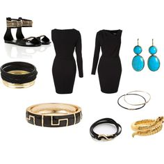 Heres how to make a one shoulder dress perfect for a date. The Fornash Inca bangle in black adds some gorgeous pattern to a plain dress and brings in some metallic gold... pile up a stack of gold and black bangles to match. Turquoise earrings add the perfect pop of color to the loook and some flat grecian inspired sandals are a cute alternative to heels.