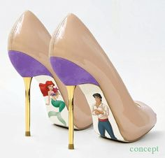 Custom hand painted Little Mermaid pumps by AshtonAtelier on Etsy, $45.00 OMG I AM DOING THIS FOR THE WEDDING!!!!