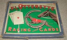 FLUTTERETTE - VINTAGE 1920's RACING BOARD GAME WITH CARDS Traditional Games, Card Games, 1920s, Playing Cards, Racing, Puzzles, Board, Palm, Vintage
