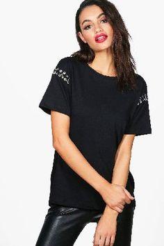 #boohoo Metal Ring Detail Premium T-Shirt - black DZZ54393 #Lucy Metal Ring Detail Premium T-Shirt - black