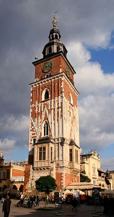 Poland- Town Hall Tower in Kraków, Poland (Polish: Wieża ratuszowa w Krakowie)The Tower is the only remaining part of the old Town Hall (Ratusz, see painting, below) demolished in 1820 as part of the city plan to open up the Main Square. Its cellars once housed a city prison with a Medieval torture chamber.